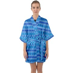 Stunning Luminous Blue Micropattern Magic Quarter Sleeve Kimono Robe by beautyskulls
