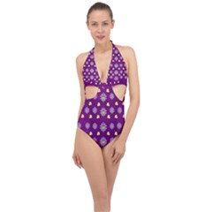 A Feel Of Flowers In Beautiful Air Halter Front Plunge Swimsuit by pepitasart