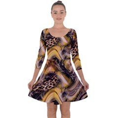 Luxury Animal Print Quarter Sleeve Skater Dress