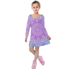 Colorful Mandala Kids  Long Sleeve Velvet Dress