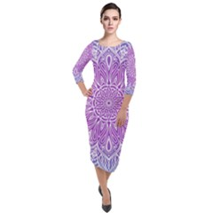 Colorful Mandala Quarter Sleeve Midi Velour Bodycon Dress by tarastyle