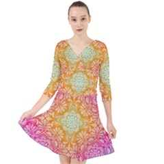 Colorful Mandala Quarter Sleeve Front Wrap Dress