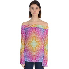 Colorful Mandala Off Shoulder Long Sleeve Top by tarastyle