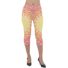 Colorful Mandala Lightweight Velour Capri Leggings  by tarastyle