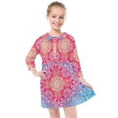 Colorful Mandala Kids  Quarter Sleeve Shirt Dress