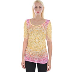 Colorful Mandala Wide Neckline Tee by tarastyle