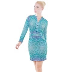 Colorful Mandala Button Long Sleeve Dress by tarastyle