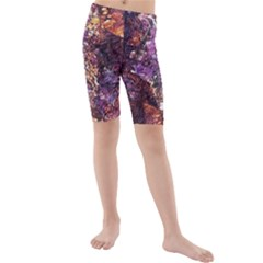 Colorful Rusty Abstract Print Kids  Mid Length Swim Shorts