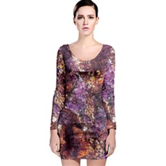 Colorful Rusty Abstract Print Long Sleeve Bodycon Dress