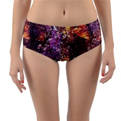 Colorful Rusty Abstract Print Reversible Mid Waist Bikini Bottoms