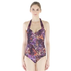 Colorful Rusty Abstract Print Halter Swimsuit