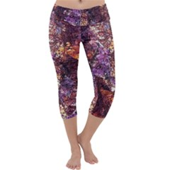 Colorful Rusty Abstract Print Capri Yoga Leggings