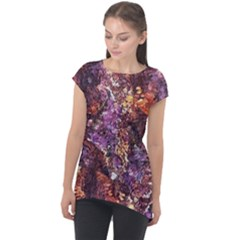 Colorful Rusty Abstract Print Cap Sleeve High Low Top