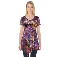 Colorful Rusty Abstract Print Short Sleeve Tunic