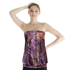 Colorful Rusty Abstract Print Strapless Top