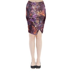 Colorful Rusty Abstract Print Midi Wrap Pencil Skirt