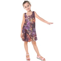 Colorful Rusty Abstract Print Kids  Sleeveless Dress