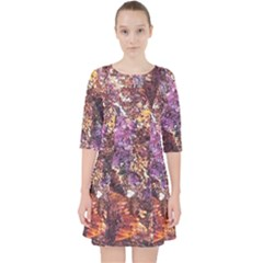 Colorful Rusty Abstract Print Pocket Dress