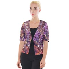 Colorful Rusty Abstract Print Cropped Button Cardigan