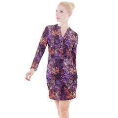 Colorful Rusty Abstract Print Button Long Sleeve Dress