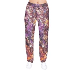 Colorful Rusty Abstract Print Velvet Drawstring Pants