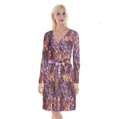 Colorful Rusty Abstract Print Long Sleeve Velvet Front Wrap Dress