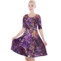 Colorful Rusty Abstract Print Quarter Sleeve A Line Dress