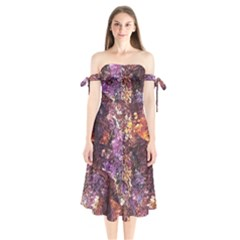 Colorful Rusty Abstract Print Shoulder Tie Bardot Midi Dress