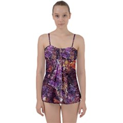 Colorful Rusty Abstract Print Babydoll Tankini Set by dflcprintsclothing