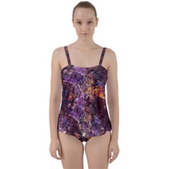 Colorful Rusty Abstract Print Twist Front Tankini Set