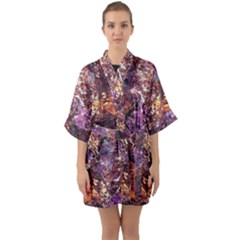 Colorful Rusty Abstract Print Quarter Sleeve Kimono Robe by dflcprintsclothing
