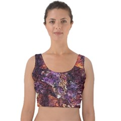 Colorful Rusty Abstract Print Velvet Crop Top
