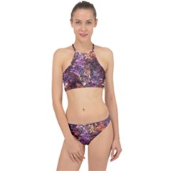 Colorful Rusty Abstract Print Racer Front Bikini Set