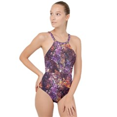 Colorful Rusty Abstract Print High Neck One Piece Swimsuit