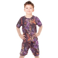 Colorful Rusty Abstract Print Kids  Tee And Shorts Set