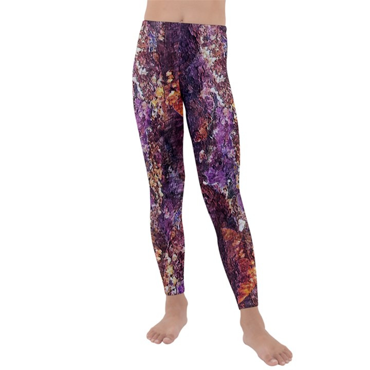 Colorful Rusty Abstract Print Kids  Lightweight Velour Leggings