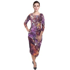 Colorful Rusty Abstract Print Quarter Sleeve Midi Velour Bodycon Dress