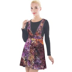 Colorful Rusty Abstract Print Plunge Pinafore Velour Dress