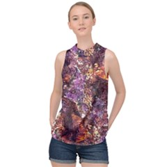 Colorful Rusty Abstract Print High Neck Satin Top