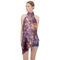 Colorful Rusty Abstract Print Halter Asymmetric Satin Top by dflcprintsclothing