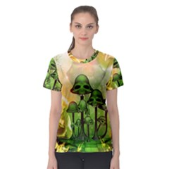 Awesome Funny Mushroom Skulls With Roses And Fire Women s Sport Mesh Tee