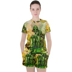 Awesome Funny Mushroom Skulls With Roses And Fire Women s Tee And Shorts Set