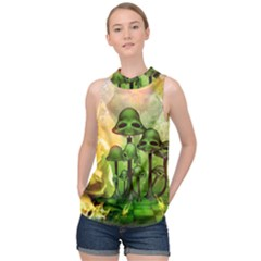 Awesome Funny Mushroom Skulls With Roses And Fire High Neck Satin Top by FantasyWorld7