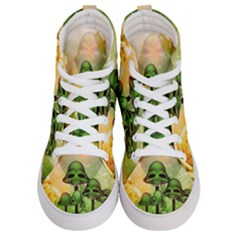 Awesome Funny Mushroom Skulls With Roses And Fire Women s Hi Top Skate Sneakers