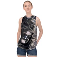 Angry Lion Digital Art Hd High Neck Satin Top