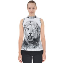Lion Wildlife Art And Illustration Pencil Mock Neck Shell Top