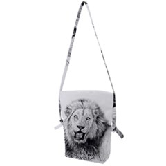 Lion Wildlife Art And Illustration Pencil Folding Shoulder Bag
