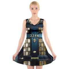 Tardis Sherlock Holmes 221b V Neck Sleeveless Dress