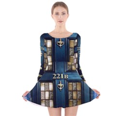 Tardis Sherlock Holmes 221b Long Sleeve Velvet Skater Dress