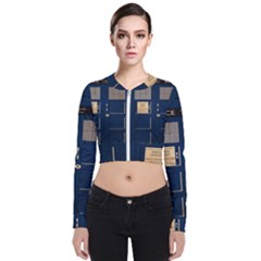 Tardis Poster Long Sleeve Zip Up Bomber Jacket